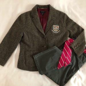 AEO Stretch Gray Pants 10 Tweed Wool Brown Blazer
